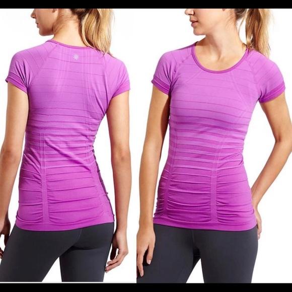 6c0e7accaffdaa Athleta Tops - Athleta Fastest Track purple stripe stretch tee XS